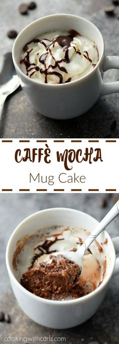 This gooey, chocolaty Caffè Mocha Mug Cake is the perfect quick treat whenever cravings strike | cookingwithcurls.com