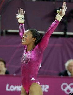 gymnast Gabrielle Douglas reacts after her performance on the floor during the artistic gymnastics women's individual all-around competition at the 2012 Summer Olympics, Thursday, Aug. in London. All Around Gymnastics, Gymnastics Poses, Sport Gymnastics, Artistic Gymnastics, Olympic Gymnastics, Olympic Games, Gymnastics Equipment, Amazing Gymnastics, Gaby Douglas