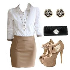 Fashion and stylish #outfit for business woman...would prefer a classic pair of pumps with this.