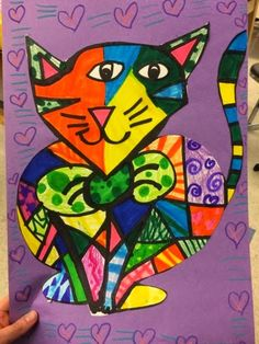 Jamestown Elementary Art Blog Grade 1 Romero Brito-inspired cats + dogs