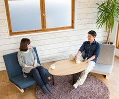 多方向へ向けて使用できるHATSUKAZUKIテーブル