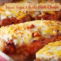 Cheesy Garlic and Brown Sugar Pork Chops