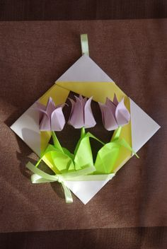 Spring pastel bouquet - tulips in frame. Origami paper gift
