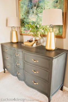 French Provincial Annie Sloan Graphite Dresser |Cuckoo 4 Design
