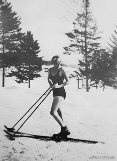 Vintage summer skiing in a bathing suit!