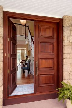 Double Front Entry Doors Exterior Doors Solid Wood Front Entry Double Doors With Double Door Knobs And Great Brick Wall Exterior Design From Great Home On The Double Front Entry Doors Front Door Cafe Wooden Double Doors, Double Front Entry Doors, Wooden Front Doors, The Doors, Wooden Main Door Design, Double Door Design, Front Door Design, Wood Design, Traditional Front Doors