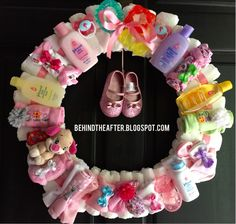 Diaper Wreath - The Ultimate Diaper Wreath! The DIY tutorial on how to make this adorable wreath! etsy.com/shop/PoeticWeeOneBoutique