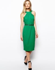 Asos Pencil Dress With Twist Neck And Belt - green cocktail dress