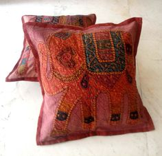 (SKU no: kmic 2014e) 2 Red Handcrafted Applique Patchwork Ethnic Indian Elephant Throws Pillow Cases Toss Cushion Covers, Krishna Mart India