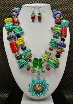 CRAZY COLORS - Chunky Cowgirl Western Style Necklace Set / Multicolor Fiesta Howlite Turquoise Statement Necklace / Star Pendant Necklace - See more at: http://www.buckaroobay.com/catalog.php?item=7889#sthash.I5GJDQDh.dpuf