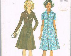1970s Shirt Dress Pattern - Size 18 Bust 40 Inches - Simplicity 6155 - Knee Length Dress, Button Front Dress, Collared Dress, Flared Dress