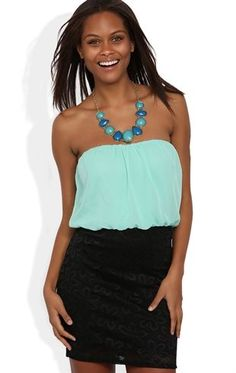 Deb Shops #Mint Strapless Blouson Dress with Daisy Lace Banded Skirt $24.67