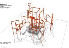Il progetto della grande installazione espositiva che intende ricreare la suggestione dello spazio architettonico ispirato al segno di Klee