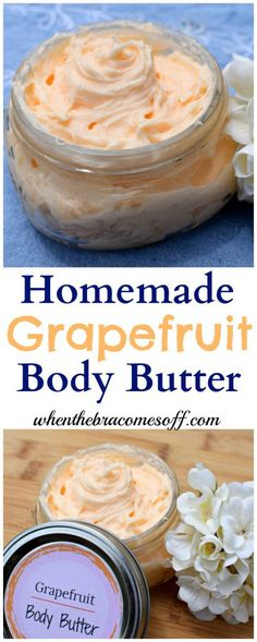 Learn How to Make Body Butter using grapefruit essential oils. This DIY whipped … Learn How to Make Body Butter using grapefruit essential oils. This DIY whipped body butter recipe is non greasy and perfect for natural skincare! Homemade Body Butter, Whipped Body Butter, Homemade Skin Care, Homemade Beauty Products, Homemade Body Lotion, Natural Products, Homemade Moisturizer, Homemade Hair, Homemade Soaps