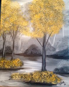 Acrylic Painting Misty Morning; 15.75 X 20  Soft grays with that pop of color, misty landscape. One of a kind, hand painted. Finished edges make it ready to hang, or pop on your favorite frame.