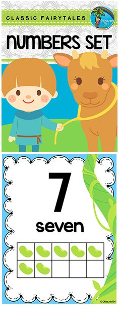 Number flash cards and headers featuring numbers 0-20 with Jack and the Beanstalk illustrations.  Suitable for Pre-K through to First Grade and ELL students.  $