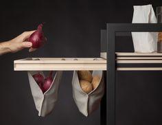 Christopher Santerre – L'objet réflexif Plus Design Garde Manger, Creative Storage, Sewing Table, Furniture Inspiration, Style Inspiration, Handmade Furniture, Diy Organization, Cool Kitchens, Wood Crafts