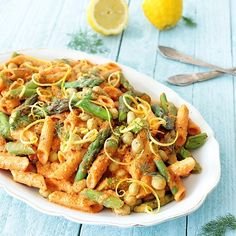 Lemony asparagus & lima bean pasta salad with creamy roasted bell pepper and almond sauce is a great vegan spring or summer meal. Vegetarian Pasta Recipes, Easy Salad Recipes, Easy Salads, Veggie Recipes, Whole Food Recipes, Healthy Recipes, Vegan Pasta, Vegan Meals, Vegan Food