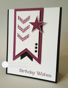 handmade birthday card ... SU Four You Perfect Pennants Chevron DD ... sharp lines ... white with black and burgundy ... luv the layout ... perfect for a masculine card ... Stampin'Up!