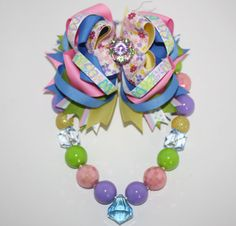 Pretty Pastel Chunky Necklace & Layered Bow Set wit by HugABug, $26.00