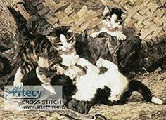 Playful Kittens in a Basket - cross stitch pattern designed by Tereena Clarke. Category: Cats.