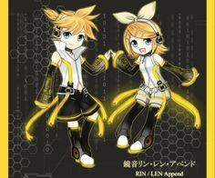 I l<3ve these append chibis!!! <3u<3 Kagamine RinLen Append chibi by Na-Nami.deviantart.com on @deviantART