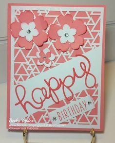 May 2016 Paper Pumpkin, Flirty Flamingo, Greetings Thinlits, Pansy Punch, Petite Petals Punch #stampinup