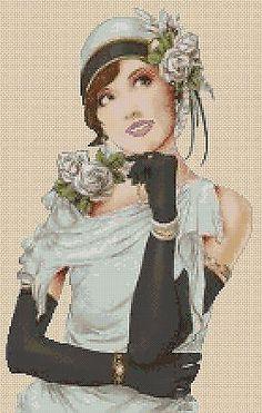 Cross Stitch Chart ART DECO LADY IN PALE BLUE DRESS No.5vb-31b