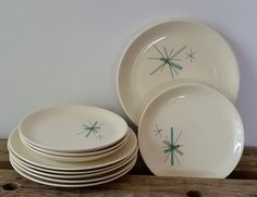 Mid Century Modern Plates Salem North Star Atomic by RandomAmazing