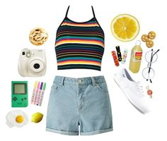 """""""Colorful"""" by klinsoda ❤ liked on Polyvore featuring Miss Selfridge, sOUP, Keds, Fujifilm and Pusheen"""
