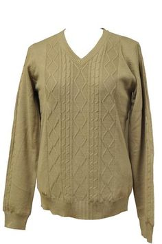 Taupe V-Neck Wind Sweater