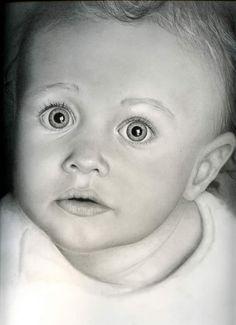Hyperrealistische Zeichnung eines Kindes - Ruby, von killaby