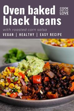 A delicious and healthy vegan black bean recipe that every busy cook needs to have on hand. It's easy to prepare and also works great for meal prep. This combination of black beans and corn salsa have tons of flexibility, allowing you to create many different plant-based meals with it as the base.    Read more for the full recipe and lots of tips.  Want more delicious vegetarian main meal recipes?  Sign up for my email list to get them straight to your inbox plus meal prep tips and more. Vegan Black Bean Recipes, Vegetarian Bean Recipes, Vegetarian Meal Prep, Vegan Recipes Beginner, Quick Vegetarian Meals, Lentil Recipes, Meal Recipes, Healthy Recipes, Corn Salsa