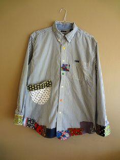 Large / Plus Size Funky Shirt / Upcycled Boyfriend by UpCDooZ Upcycling Fashion, Diy Fashion, Punk Fashion, Unique Fashion, Fashion Dresses, Sewing Clothes, Diy Clothes, Refashioned Clothes, Clothes Refashion