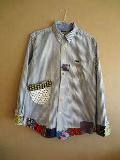 Large / Plus Size  Funky Shirt / Upcycled Boyfriend by UpCDooZ, $48.00
