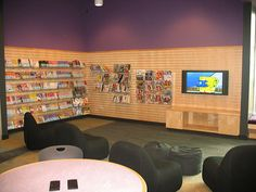 HB_Teen Center_TV Lounge_Picture07 553 by Kimberly Bolan Cullin, via Flickr Teen Library Space, Space Tv, Youth Center, Center Ideas, After School, The Expanse, Lions, Den, Photo Wall