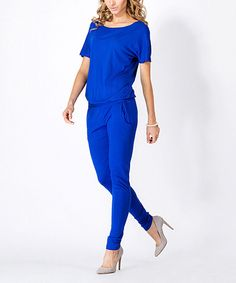 BeYou Cornflower Short-Sleeve Jumpsuit | zulily