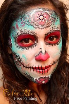 A lacey sugar skull - makeup - Color Me Face Painting