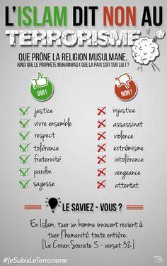 [Infographie: L'islam dit non au terrorisme.]