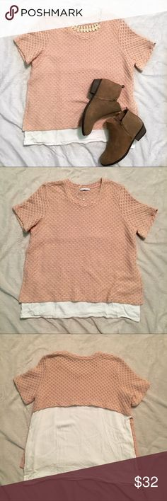 Zara pink knit overlay top Zara pink knit top! The knit part overlays a white top underneath (kind of like a flap if you know what I mean) used, but in great condition! Please refer to the measurement photos for sizing help! :) Zara Tops