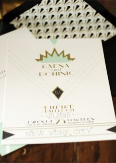 Art Deco Wedding Invitations by Umama via Oh So Beautiful Paper (4)