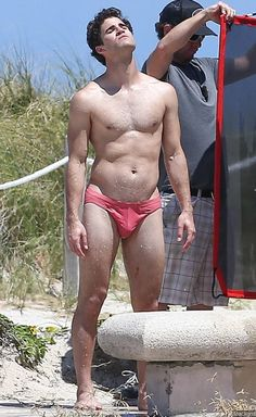 Photo: 'Versace: American Crime Story' Set Photos: Darren Criss Strips Down to Speedo During Filming
