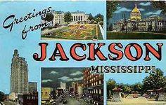 Jackson Mississippi MS 1950 Large Letter Greetings from Jackson Vintage Postcard Jackson Mississippi, Large Letters, Vintage Postcards, Lettering, Ms, Big Letters, Vintage Travel Postcards, Drawing Letters