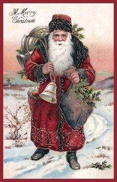 Old Christmas Post Сards — Vintage Red Suited Santa Claus Bells Image Magne Vintage Christmas Images, Old Christmas, Christmas Scenes, Victorian Christmas, Father Christmas, Retro Christmas, Christmas Postcards, Xmas, Santas Vintage