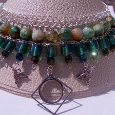 Collier ras-du-cou multirangs perles vertes