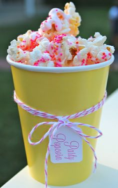You are my Sunshine Birthday Party Ideas | Photo 1 of 55 | Catch My Party- love this fun popcorn in bright cups...super cute