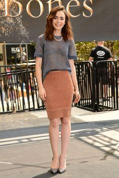 Lily Collins, she dresses in a classy way