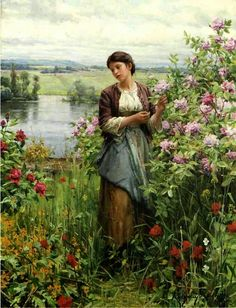 ~ Daniel Ridgway Knight ~ American artist, 1839-1924: Julia among the Roses