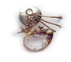 Crystal Cave and moonstone Pin  Brooch  in Sterling Married Metals by Cathleen McLain McLainJewelry by mysticafelicity on Etsy