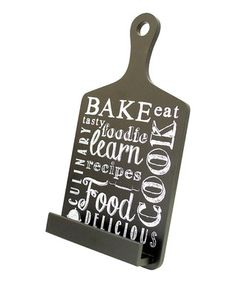 Black 'Bake' Tablet Stand. I know a foodie that would love this cookbook stand! Easy to clean... possibly DIY it too with personalized words. Hmmm...